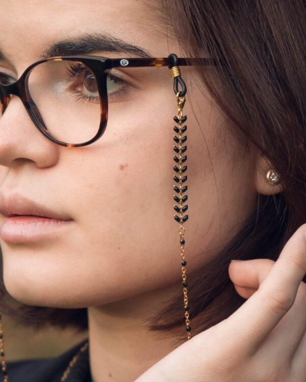 Chaine de lunettes noire et dorée