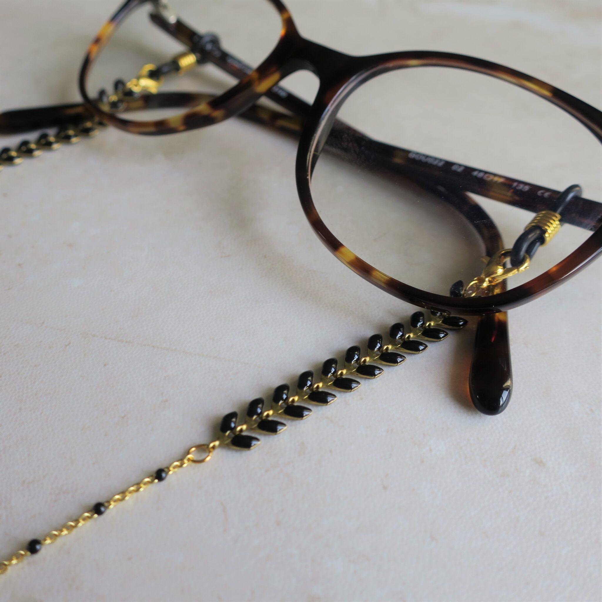Cordon de lunettes fantaisie doré et noir