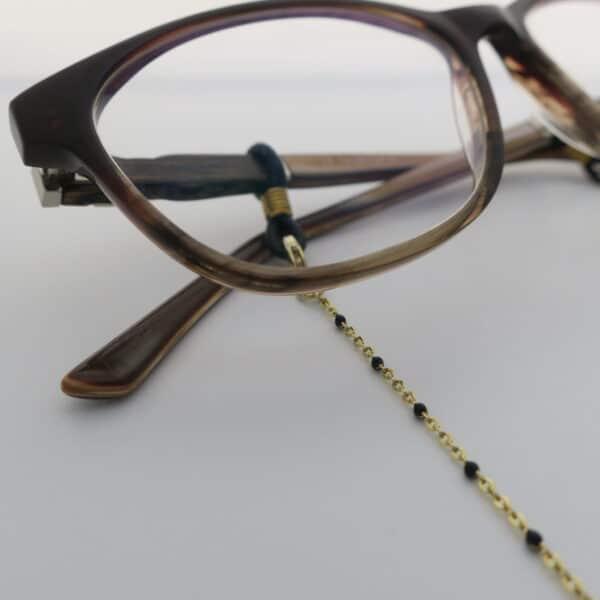 Chaine de lunettes dorée à perles noires modèle Rome