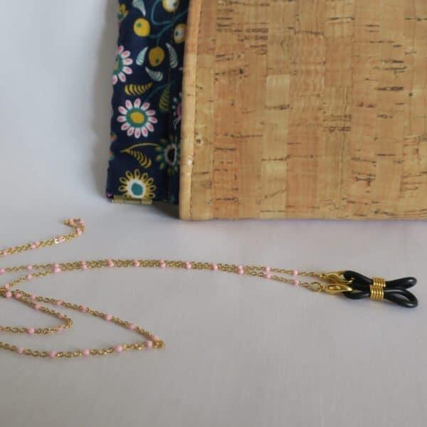 Chaine de lunettes Toulouse bijou doré à perles roses