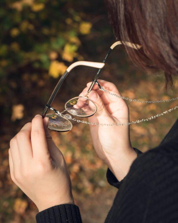 cordon a lunettes argentée bijou