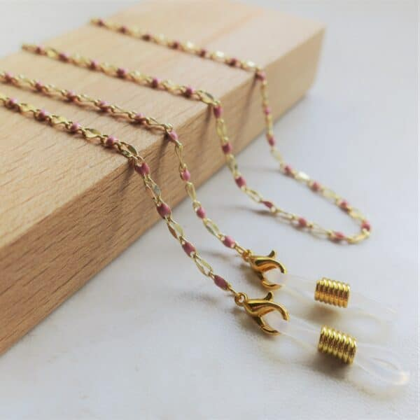 chaine de lunettes acier inox doré - bijou de lunettes pour femmes - cordon à lunettes