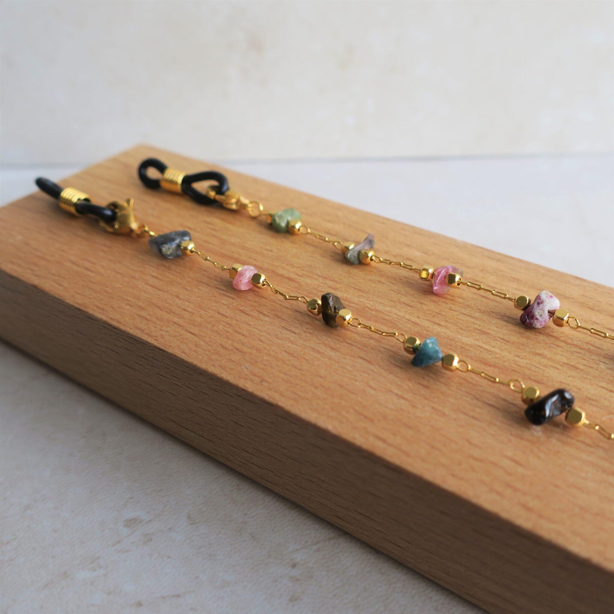 Chaine de lunettes dorée à l'or fin et pierres fines