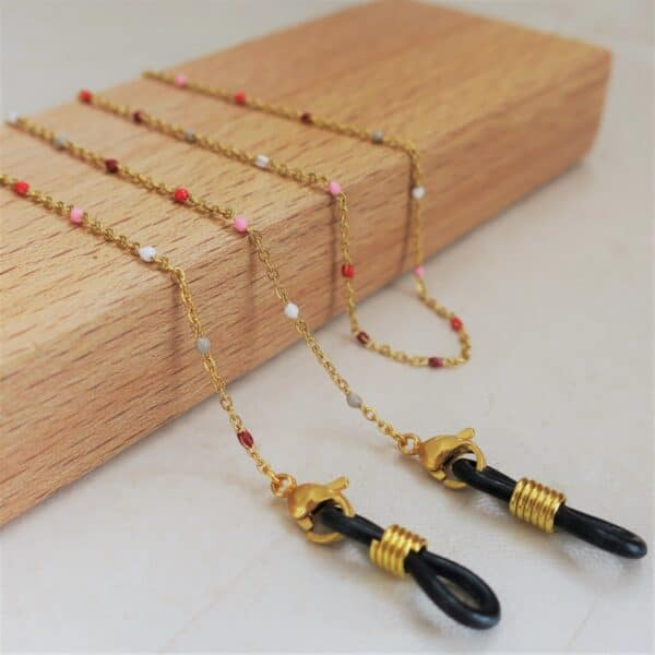 Chaine de lunettes dorée à perles modèle Ankaa