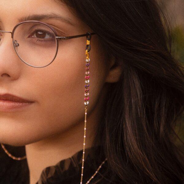 Chaine de lunettes fantaisie cordon de lunettes bijou doré à épis émaillés roses violets et blancs