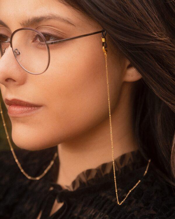 Chaine de lunettes en acier inoxydable doré et perles dorées modèle Luna