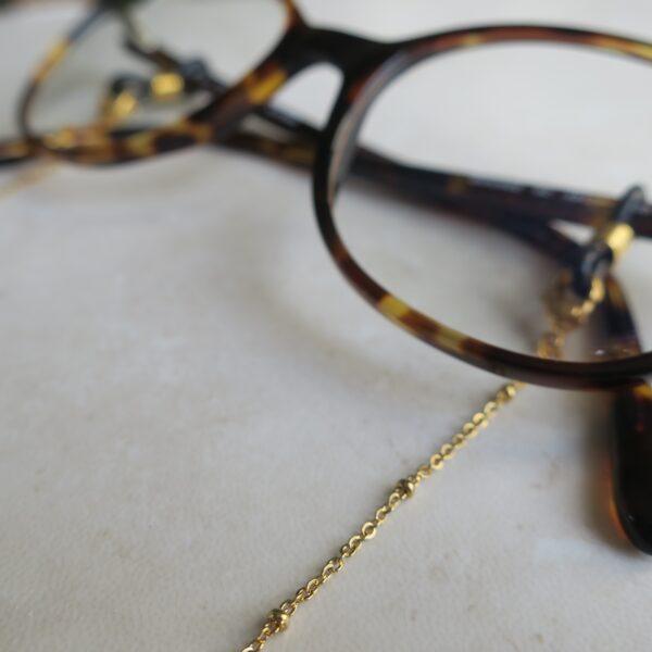 chaine de lunettes dorée en acier inoxydable à perles dorées