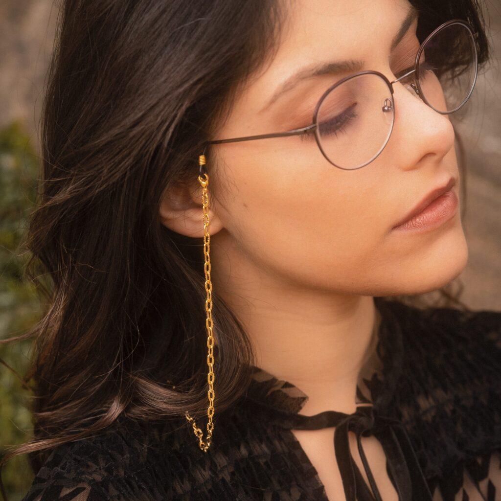 Chaine de lunettes doré à mailles striées acier inox