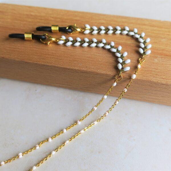 Chaine de lunettes dorée à épis émaillés blancs pour femmes
