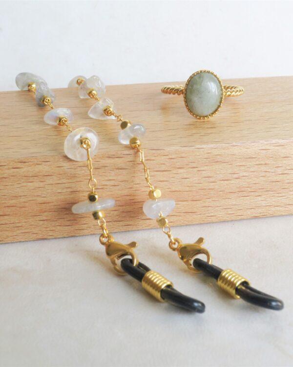 coffret bijoux pierres semi précieuses labradorite : chaine de lunettes et bague dorées à l'or fin