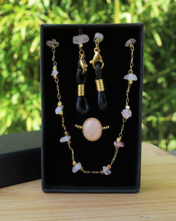 Chaine de lunettes et bague en laiton doré à l'or fin et pierres fines quartz rose, coffret cadeau pour femmes, bijoux à pierres semi-précieuses