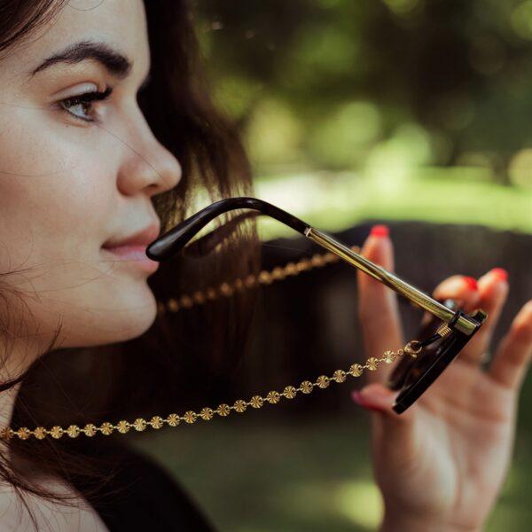 Chaine lunettes dorée pour femme, bijou tendance à esprit bohème