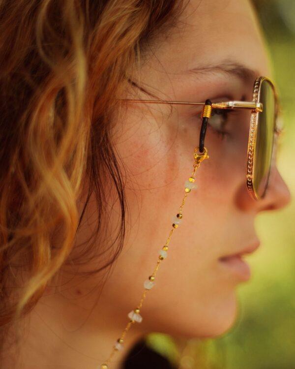 Chaine de lunettes dorée pierres labradorite Muse